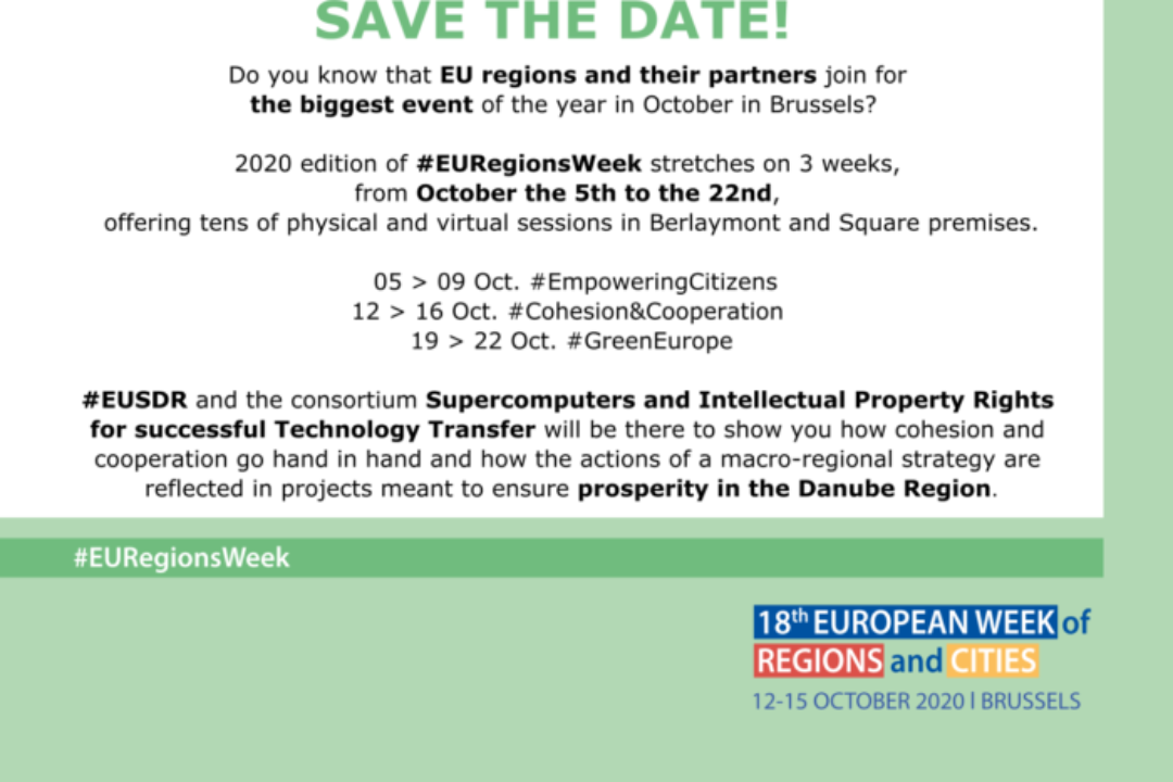 Save the date! #EUSDR at the #EURegionsWeek, Oct 12th -16th
